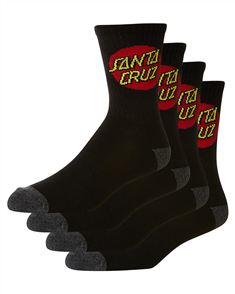 Santa Cruz Mens Cruz Sock - 4 Pairs, Black